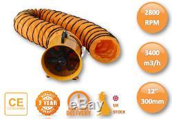 110v 12 300mm Cyclone Dust Fume Extractor / Ventilation Fan + 5m Pvc Ducting