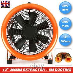 12'' 300MM Dust Fume Extractor / Ventilation Fan + 5M PVC Ducting UK STOCK