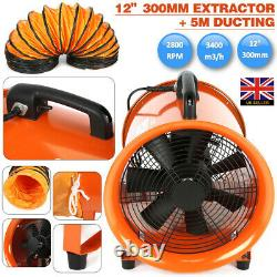 12 300mm Cyclone Dust Fume Extractor / Ventilation Fan + 5m Pvc Ducting /