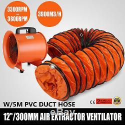 12 Extractor Fan Blower Ventilator +5M Duct Hose Utility Underground Garage