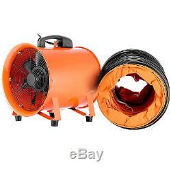 12 Industrial Ventilator Extractor Fan Blower 5m Duct Hose Rubber Feet Fume uk