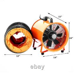 12 Portable Industrial Extractor Ventilator Air Blower Fan Ventilator with5m Duct