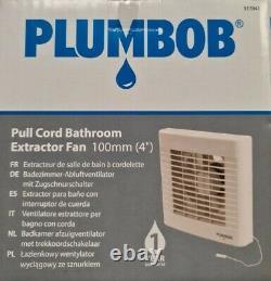 12 x Extractor Fan Plumbob 100mm 4 inch Pull Cord Bathroom Low Noise JOB LOT