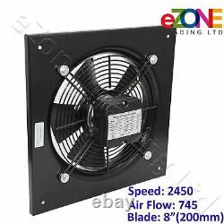 200mm Industrial Ventilation Metal Fan Axial Commercial Air Extractor Exhaust