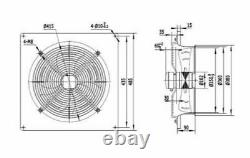 350mm Industrial Axial Plated Extractor Fan Metal Commercial Plated Ventilator