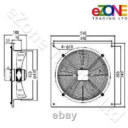 400mm Square Frame Axial Fan+Speed Controller Building Air Ventilation Extractor
