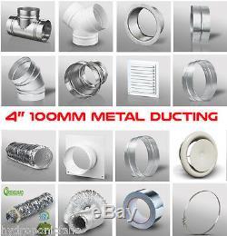 4 100mm Galvanised Metal Ducting Ventilation Extractor Fan Bath Kitchen