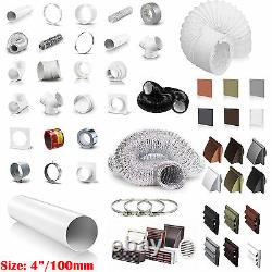 4 100mm Plastic Round Kitchen Ducting Ventilation Duct Pipe Tube Extractor Fan