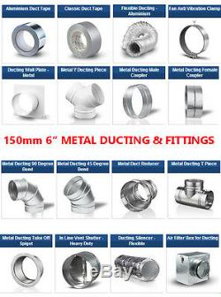 6 inch dia 150mm Metal Ducting & Fittings Pipe Ventilation for Extractor Fan