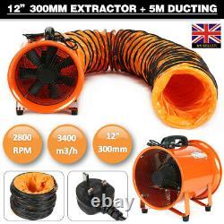 Dust Fume Extractor Ventilation Fan 12'' 300MM + 5M PVC Ducting UK STOCK