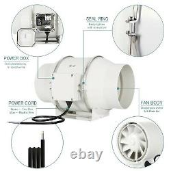 HG POWER 6'' Inline Extractor Fan with Strong Ventilation System Duct Fan for