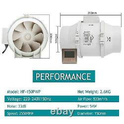 HG Power Inline Fan, 6 Timer Extractor Duct Fan with Controller Ventilation