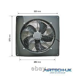 Industrial Ventilation Metal Plate Fan Axial Exhaust Commercial Blower 250MM