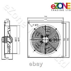 Industrial Wall Mounted Extractor Fan 24 Commercial Ventilation +Speed Control