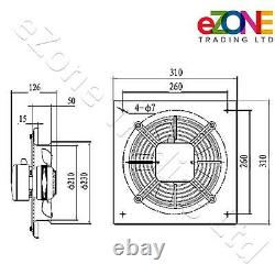Industrial Wall Mounted Extractor Fan 8 Commercial Ventilation +Speed Control