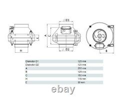 Inline Centrifugal Fan 120mm Industrial Duct Extractor Fan with Mounting Bracket