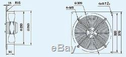 Plate Axial Extractor Ventilation Fan 250mm 730M3/H + Free External Wall Grille
