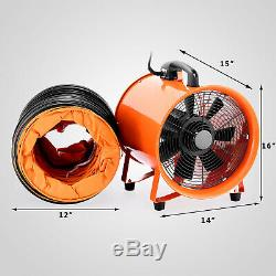 Portable Industrial Ventilator Axial Blower Workshop Extractor Fan 12 with Duct