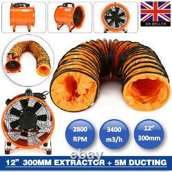 UK STOCK 12'' 300MM Dust Fume Extractor / Ventilation Fan + 5M PVC Ducting
